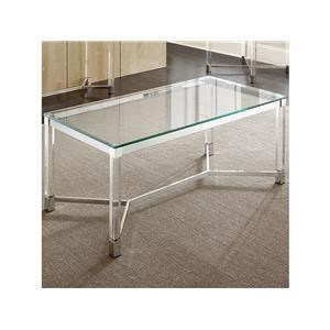 Rectangular Glass Top Cocktail Table and 2 Square Glass Top End Tables Set