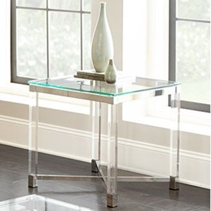 Glass Top End Table with Acrylic Legs