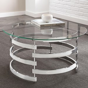 Cocktail Table with Spiral Metal Base