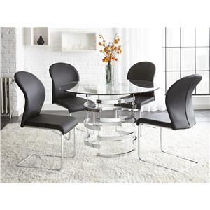 5 Piece Round Glass Table Set with Chrome Pedestal