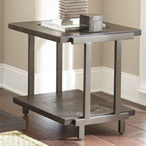 Industrial End Table with Metal and Glass Top