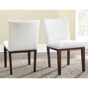 Transitional White Faux-Leather Side Chair with Nailhead Trim