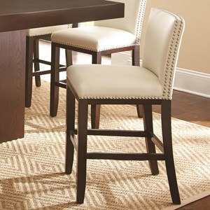Bonded Leather Counter Height Chair with Nailhead Trim