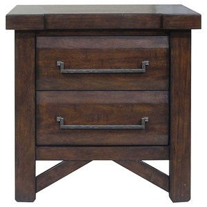 Rustic Two Drawer Nightstand with USB Charging Port