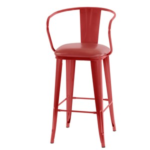 Retro Modern Red Barstool with Faux Leather Seat