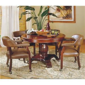 Tournament Round Game Table & Caster Arm Chair Set
