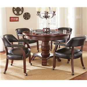 Steve Silver Tournament Tournament Game Table & Caster Arm Chair Set