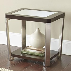 Contemporary End Table with Bottom Shelf