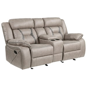 Casual Manual Reclining Glider Loveseat with Console