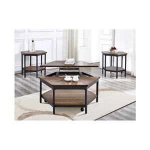 Hexagon Lift Top Cocktail Table and Hexagon End Table Set