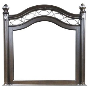 Traditional Mirror with Arched Frame and Metal Work Accents