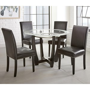 "5pc Contemporary 45"" Round Glass Top Dining Table Set with Black Chairs"