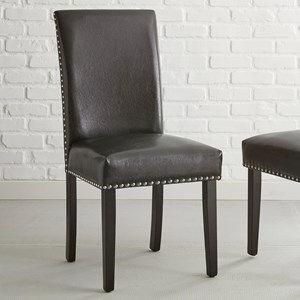 Parsons Black PU Faux Leather Side Chair with Nailhead Trim