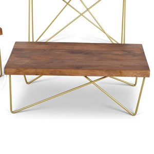 Contemporary Brass Inlay Cocktail Table