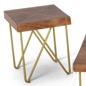 Contemporary Brass Inlay End Table