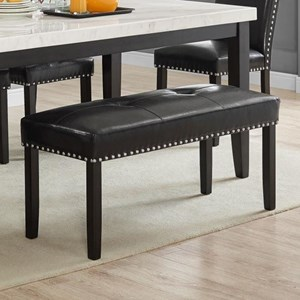 Transitional Dining Bench with Nailhead Trim