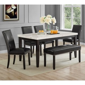 Transitional Table and Chair Set with Bench