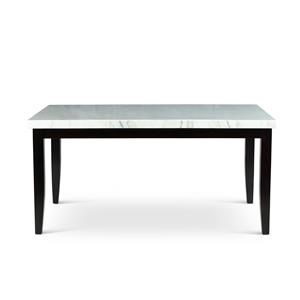 Transitional White Marble Top Dining Table
