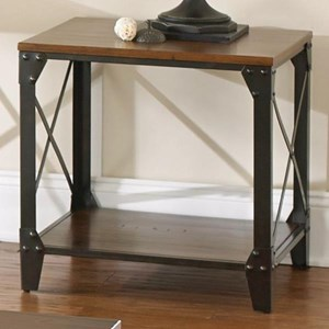 Industrial Square End Table with Solid Birch Hardwood and Metal Frame