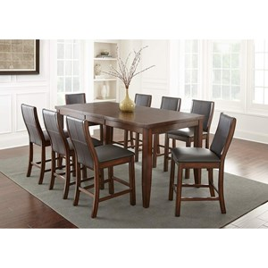 7 Piece Contemporary Counter Height Table and Chair Set with Self Storing Butterfly Leaf