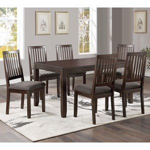 7-Pack Dining Set with Rectangular Table and Slat Back Chairs