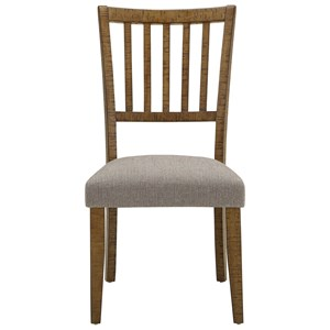 Transitional Side Chair with Slat Back and Upholstered Seat