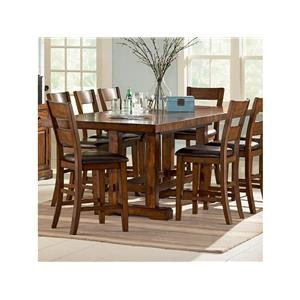 7 Piece Rectangular Counter Height Table and 6 Counter Height Chairs with Upholstered Seats Set