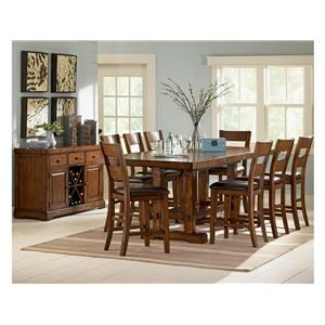 8 Piece Rectangular Counter Height Table, 6 Counter Height Chairs with Upholstered Seats and Server Set