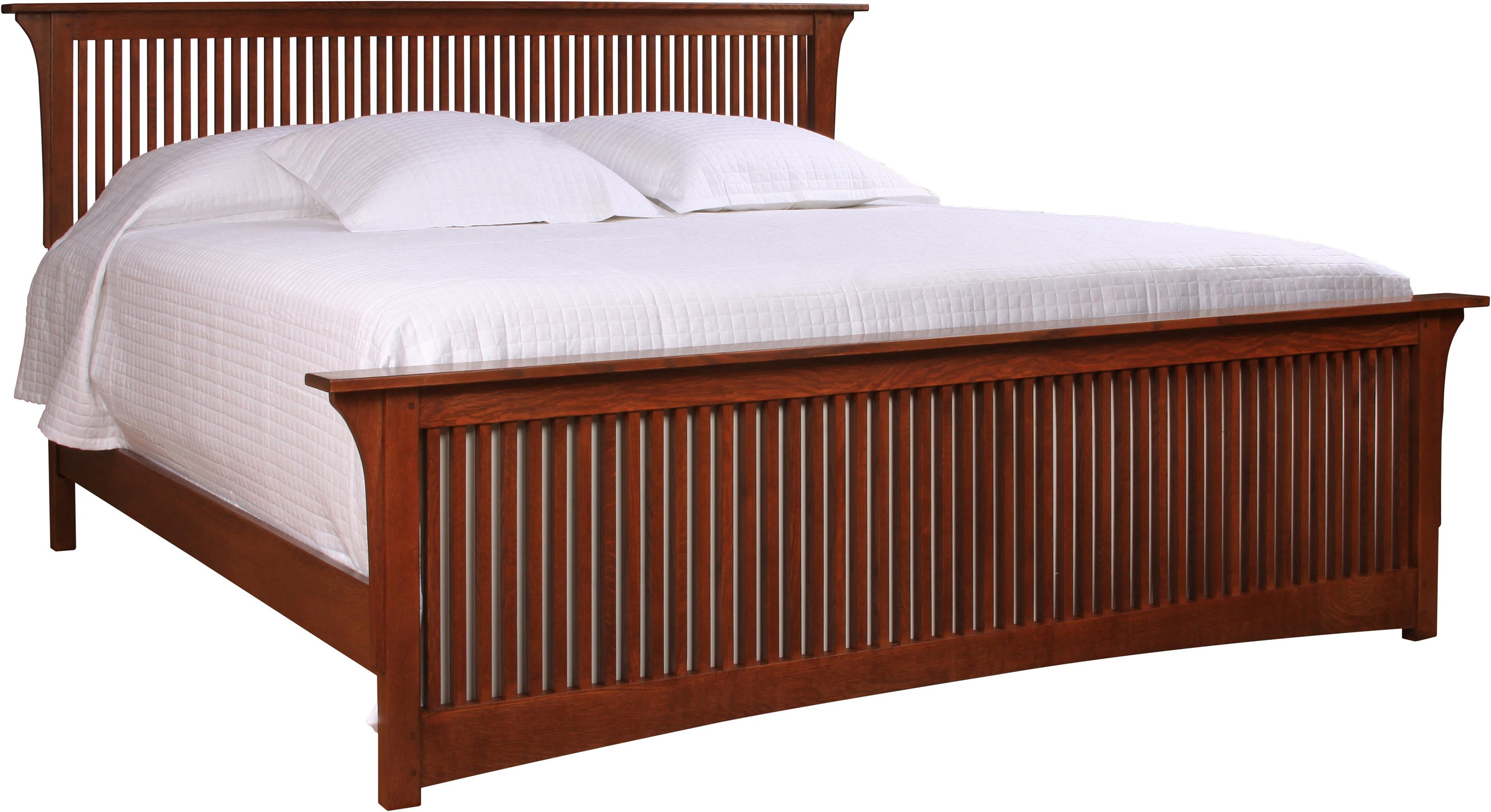 Oak Mission Classics King Spindle Bed with Low Footboard by Stickley at Williams & Kay