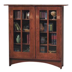 Harvey Ellis 2 Door Bookcase with Paned Glass and Inlay