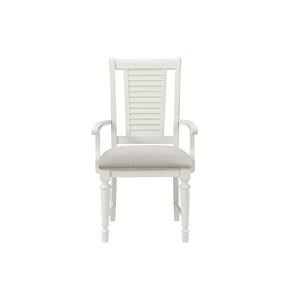 White Upholstered Arm Chair