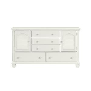 White Drawer and Door Dresser