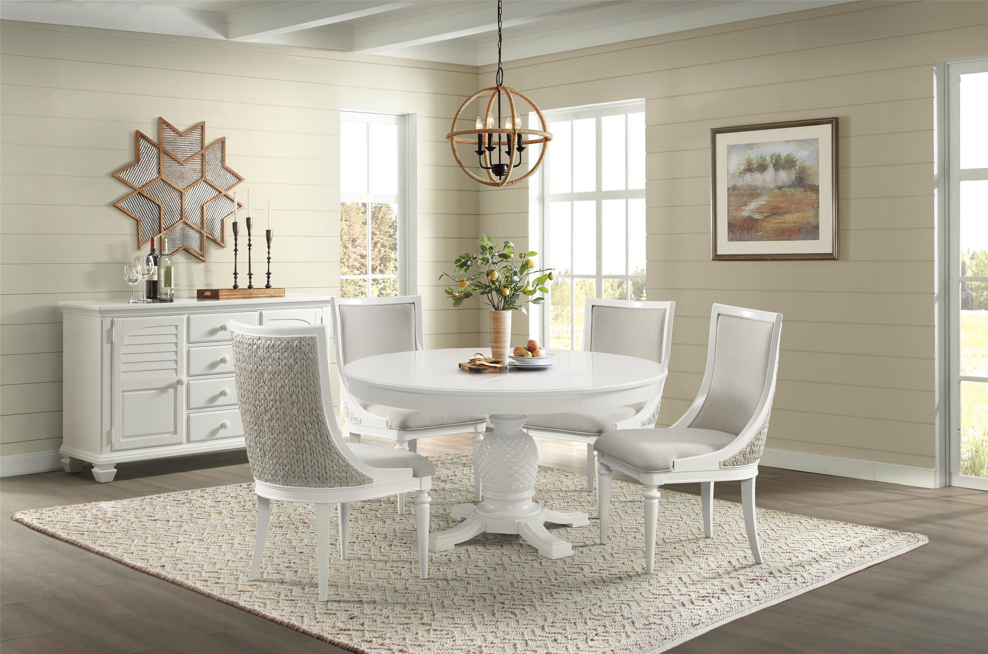 Harbortown Round Pedestal Dining Table by Stillwater Furniture at Baer's Furniture