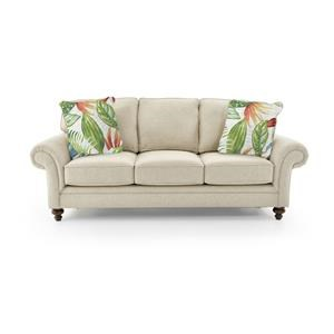 Queen Sleeper Sofa With Tropical Pillows