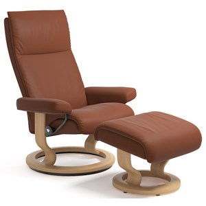 Medium Reclining Chair and Ottoman with Classic Base