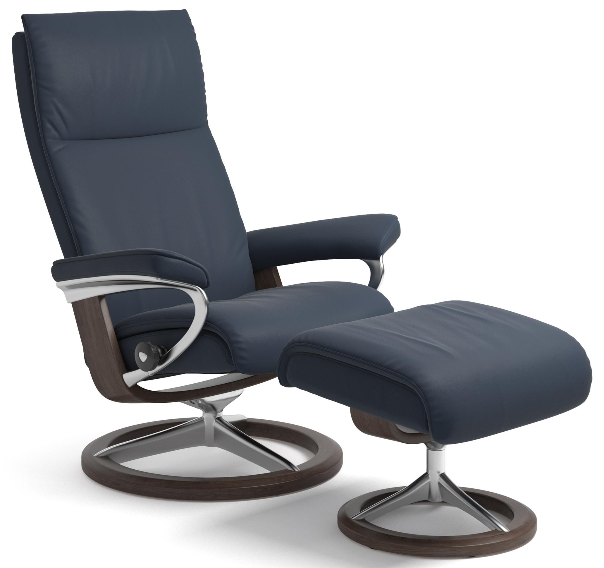 Aura Small Reclining Chair and Ottoman by Stressless at Gill Brothers Furniture