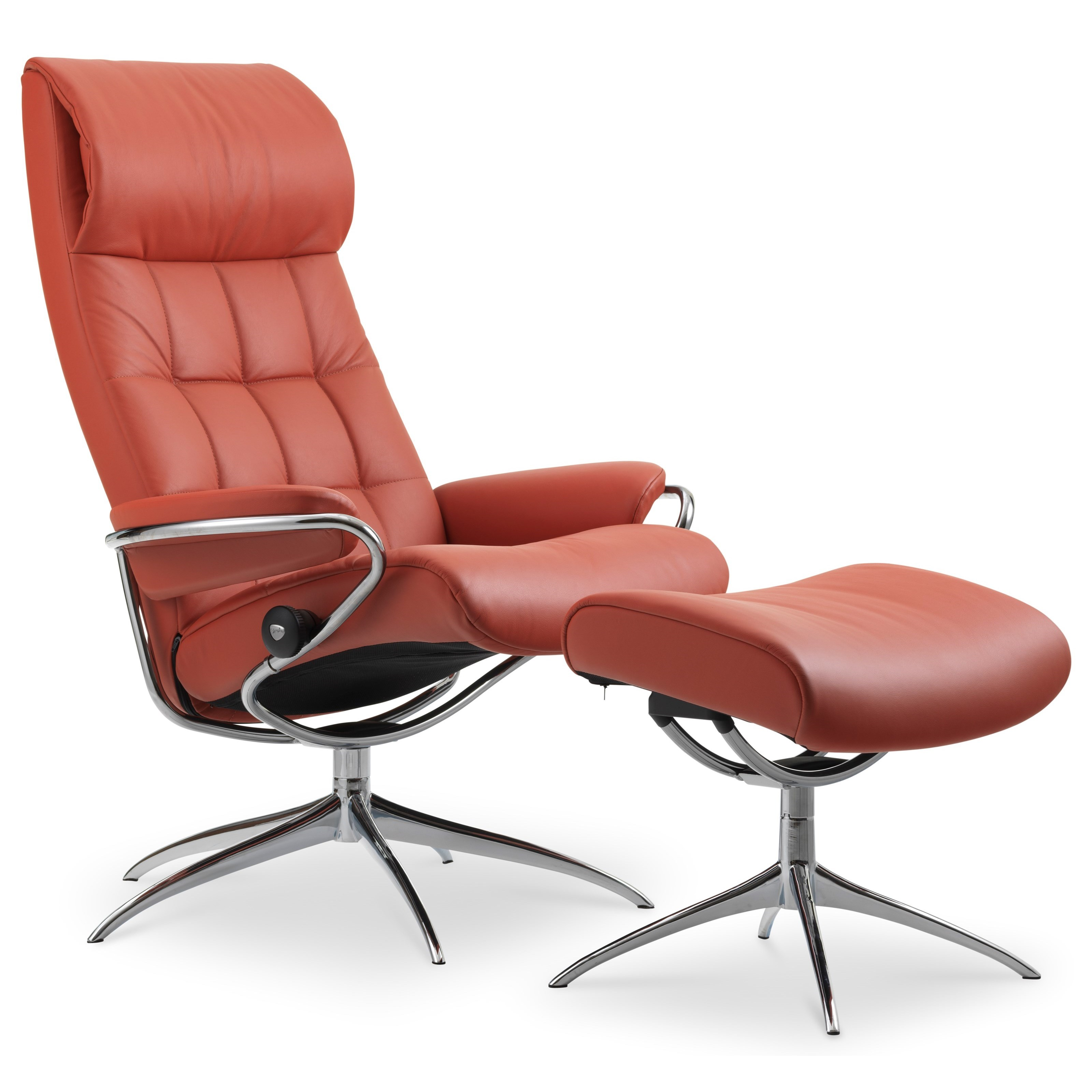 London High Back Recliner and Ottoman by Stressless at Virginia Furniture Market
