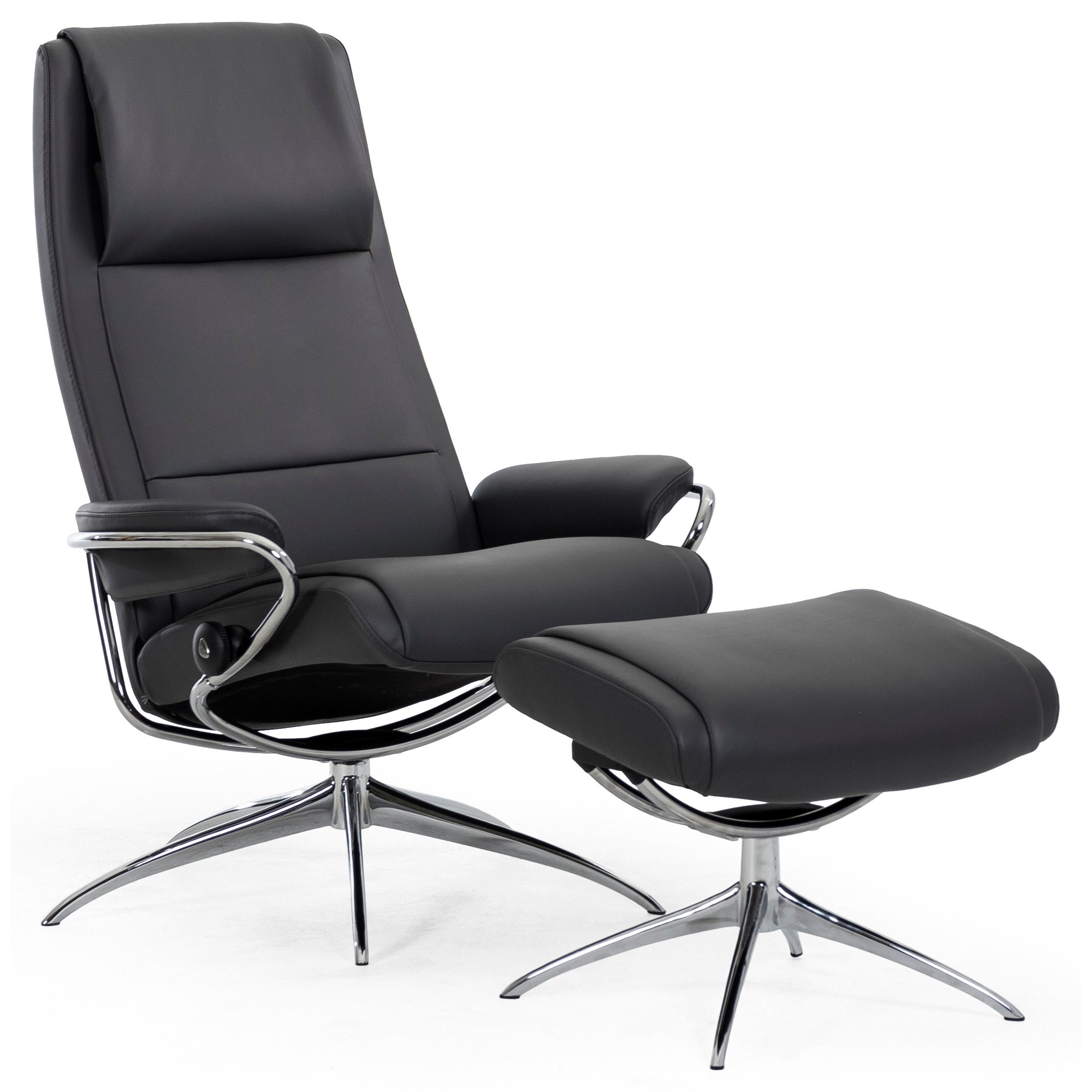 Paris High Back Recliner and Ottoman by Stressless at Virginia Furniture Market