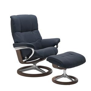 Large Reclining Chair & Ottoman w/ Signature Base (Paloma Oxford Blue & Walnut Finish)