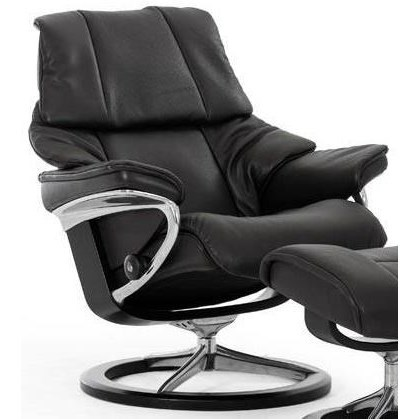 Reno Small Reclining Chair with Signature Base by Stressless at Virginia Furniture Market