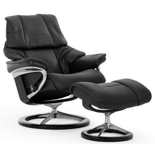 Reno Large Reclining Chair and Ottoman by Stressless at Bennett's Furniture and Mattresses