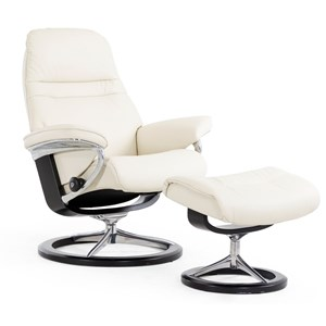 Small Reclining Chair and Ottoman with Signature Base