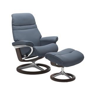 Small Reclining Chair & Ottoman w/ Signature Base (Paloma Sparrow Blue & Wenge Finish)