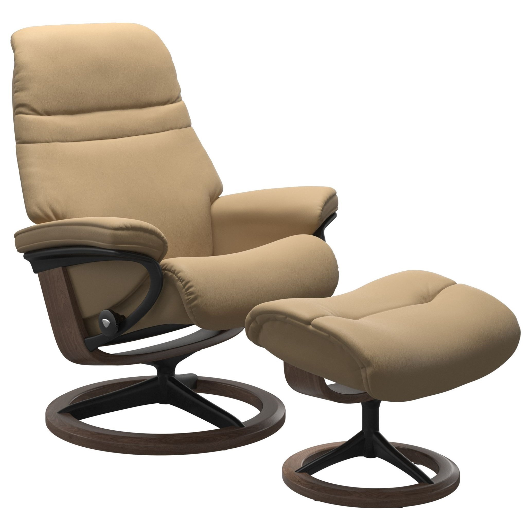 Sunrise Medium Reclining Chair and Ottoman by Stressless at HomeWorld Furniture
