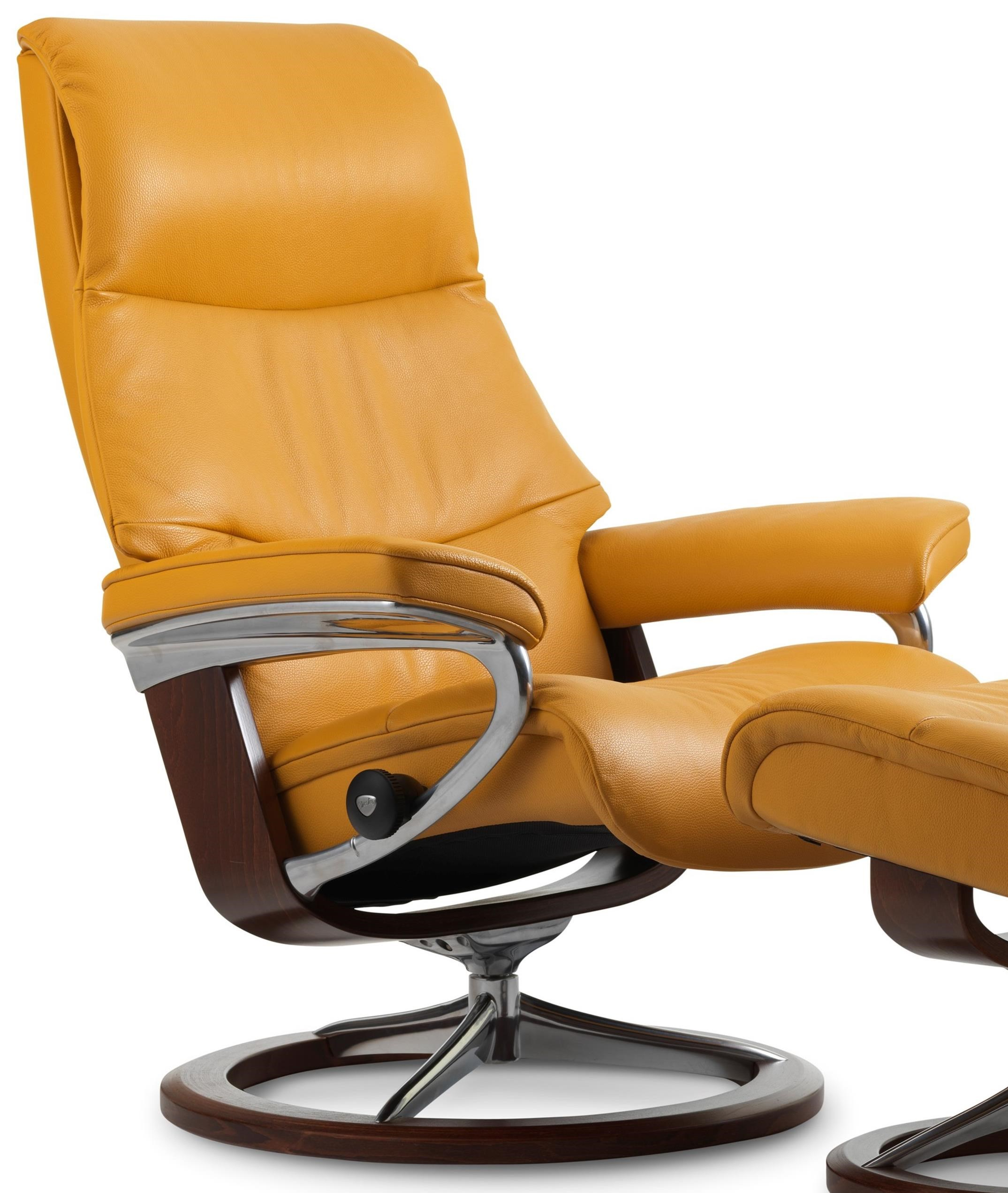 View Medium Reclining Chair with Signature Base by Stressless at Gill Brothers Furniture