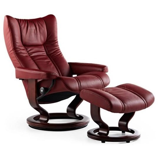 Wing Small Reclining Chair and Ottoman by Stressless at Bennett's Furniture and Mattresses