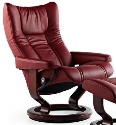 Wing Large Reclining Chair with Classic Base by Stressless at Sprintz Furniture
