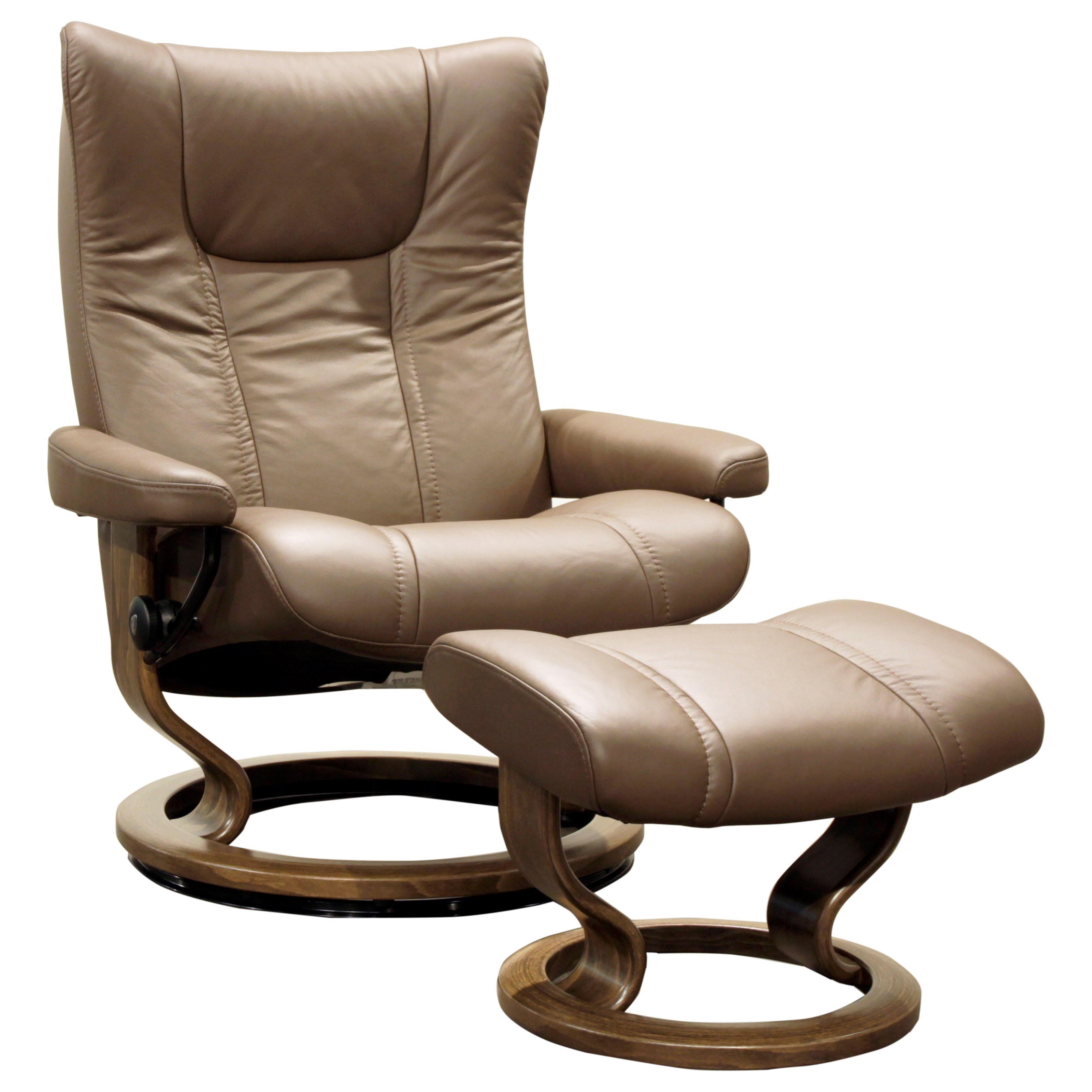 Wing Large Reclining Chair and Ottoman by Stressless at Virginia Furniture Market