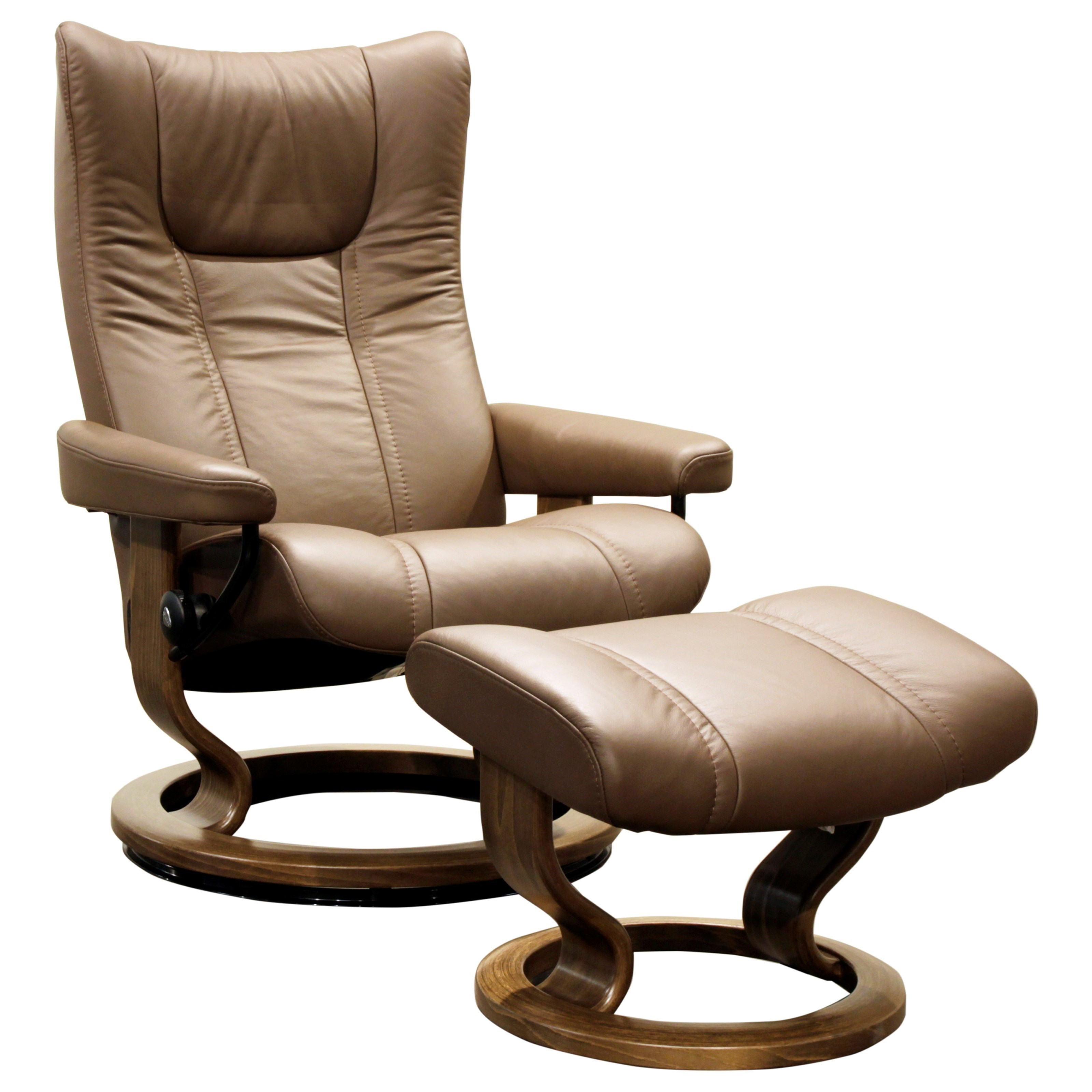 Wing Medium Chair & Ottoman with Classic Base by Stressless at Jordan's Home Furnishings
