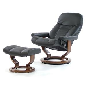 Consul Medium Recliner/Ottoman: Batick Black & Walnut